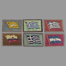Group of Six (6) Vintage Cigar Felts Flannels Flags 1910's