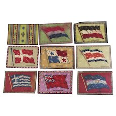 Group of Nine (9) Vintage Cigar Felts Flannels Flags 1910's As Is