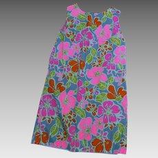 Made in Hawaii, Shift Floral Vintage Dress Hawaiian Textiles Trader Hall's