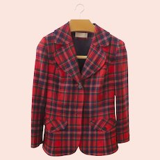 Vintage 1970's Pendleton Women's Blazer Jacket Red Plaid Size 16 100% Wool
