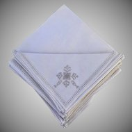 Vintage Un-Used Boxed Pure Linen Placemat Napkins Runner Hand Embroidered Lefkara Lace