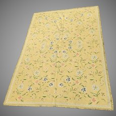 Vintage 100% Wool Needlepoint Carpet Rug Portuguese Made in Potugal Large 8' by 12' Handmade Arraiolos Rug