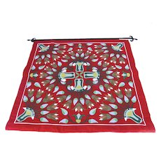 Vintage Hand Made Cotton Applique Wall Hanging with Rod