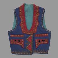 Vintage 1940's 1950's Folk Greek Balkans Vest Jewel Tones Hearts Braid