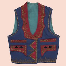 Vintage 1940's 1950's Folk Greek Balkans Vest Jewel Tones Hearts Braid