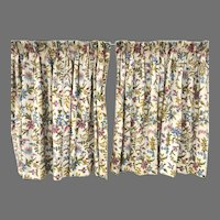 Crewel Embroidery Drapes Two Panels Lined