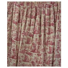 Toile Red & White Lined Drapes Pinch Pleats Two Panels