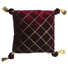 Vintage Velvet Pillow with Four Tassels  by Grazia Bagnaresi made in Italy