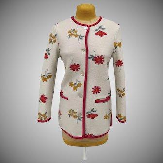 Vintage Winter White Wool Geiger Jacket Size 40