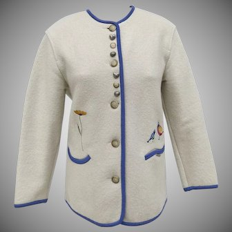 Vintage Geiger Wool Jacket Embroidered Birds Winter White Blue Piping
