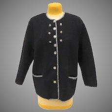 Vintage Geiger Wool Jacket Black Silver Buttons Size 40 Austria
