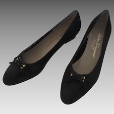 Vintage Black Suede Salvatore Ferragamo 9.5 B Pumps with Box