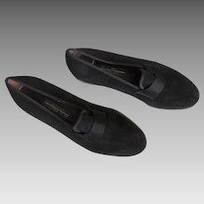 Men's Vintage Black Suede SALVATORE FERRAGAMO Made in  ITALY 8.5 D Designer Loafers Shoes