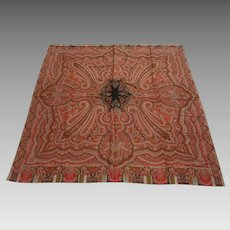 1860s Jacquard Hand-Loomed Paisley Shawl Wool Scotland