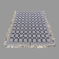 American Jacquard Two Part Blue and White Coverlet c 1840