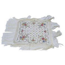 Vintage Embroidered Large Fringed Scarf Manton de Manila