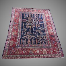 1900's Sarouk Rug Blues Reds Re-Sized Wear