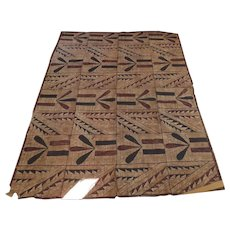 "Vintage Older Polynesian Tapa Bark Cloth Large 72 1/2"" by 57 1/2"""