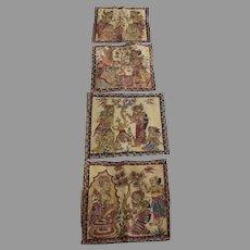 Set of four (4) Balinese Traditional Kamasan Vintage Paintings on Cloth Ramayana