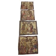 Set of four (4) Balinese Traditional Kamasan Vintage Paintings on Cloth Ramayana