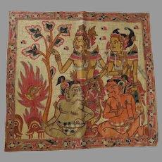 Vintage Balinese Traditional Kamasan Painting on Cloth