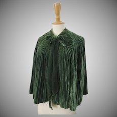 19th Century Emerald Green Silk Velvet Cape