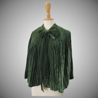 19th Century Emerald Green Silk Velvet Cape