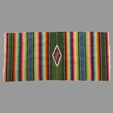"""Vintage Nicely Woven Serape Rug Bright Colors 46"""" by 21 1/2"""""""