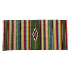 "Vintage Nicely Woven Serape Rug Bright Colors 46"" by 21 1/2"""