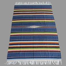 Vintage Mexican Saltillo Serape Rug Large Fringed