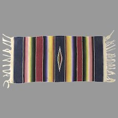 Vintage Classic Mexican Saltillo Rug Small Blanket Fringed