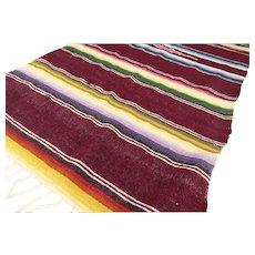 Vintage Mexican Saltillo Serape Rug Multi-Hued