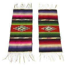 Pair of Colorful Mexican Saltillo Sarapes, circa 1920's-1940's