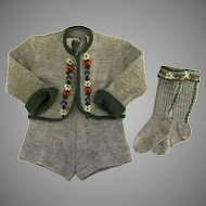 Vintage 1950's Knit Wool Sweater Suspender Shorts and Knee High Socks Tyrolean Alpine