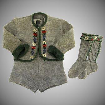 Vintage 1950's Knit Wool Sweater Suspender Shorts and Knee High Socks Tyrolean Alpine