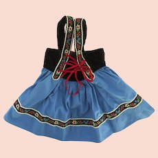 Vintage 1950's Child's Dirndl Skirt with Suspenders Made in Switzerland Edelweiss