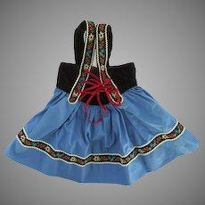 Vintage 1950's Child's Dirndl Skirt with Suspenders Made in Switzerland Edelweiss