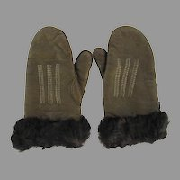 Vintage 1950's Leather Fur Trimmed Children's Mittens