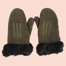 Vintage 1950's Leather Fur Trimmed Children's Mittens