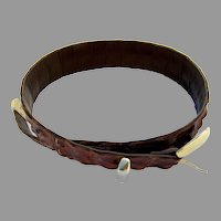Vintage Crocodile Hornback/Backbone Belt Brown