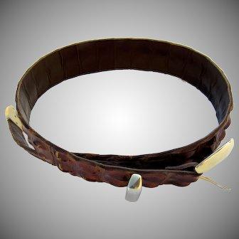 Vintage Crocodile Hornback/Backbone Belt Brown