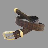 Vintage Crocodile Hornback/Backbone Belt Brown Italy