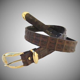 Vintage Crocodile Hornback/Backbone Belt Brown Italy