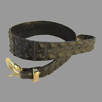 Vintage Crocodile Hornback/Backbone Belt Black