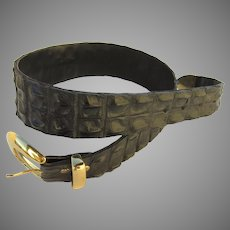 Vintage Crocodile Hornback/Backbone Belt Black