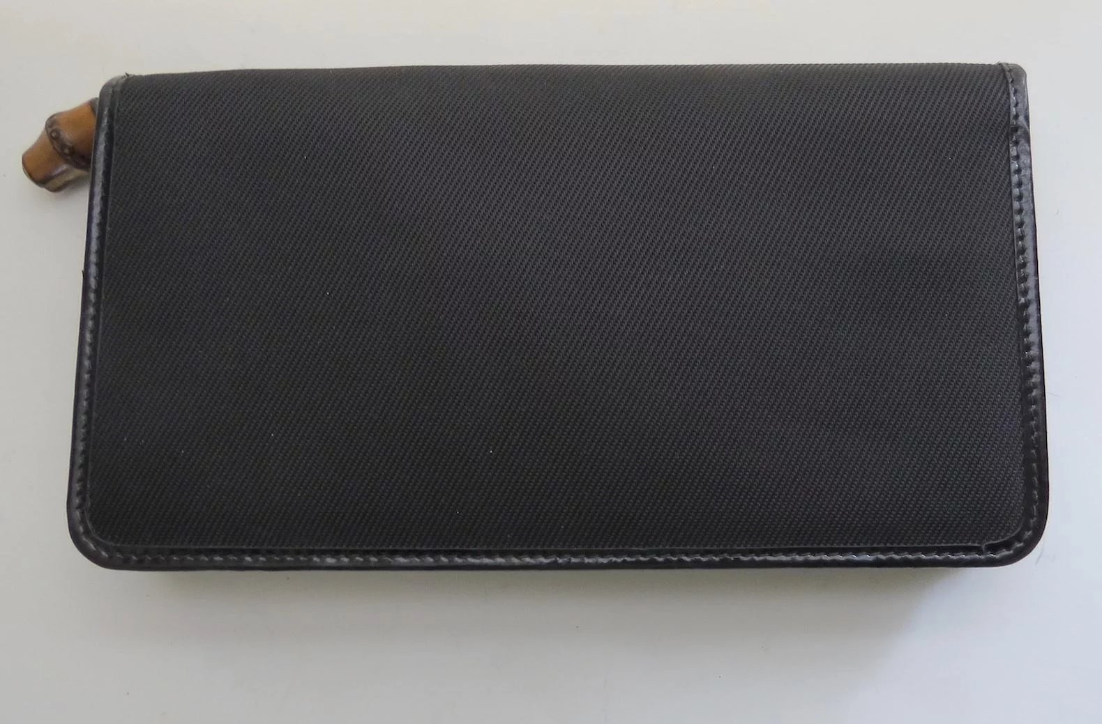 fd7a2bfc5 Vintage Gucci Wallet Credit Card Polished Leather Canvas Bamboo. Click to  expand