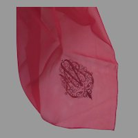 """Truly Gorgeous Red Chiffon Vintage (1950's) Square 22"""" Scarf True Red"""