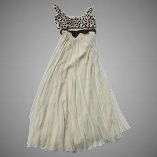 60's Modern Couture Original Hostess Cocktail Long Gown Empire Waist