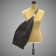 Vintage Gucci Black Leather Nylon Large Carry On Overnight Shoulder Bag Tote Luggage