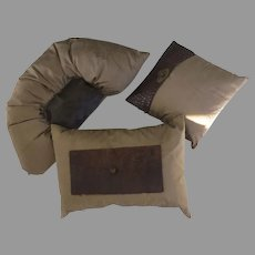 Group of Three (3) Custom Pillows Cushions Silk Alligator
